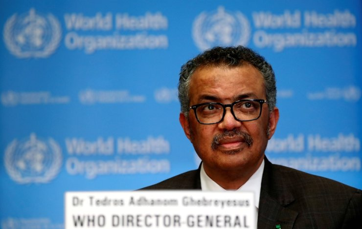 Director General of the World Health Organization Tedros Adhanom Ghebreyesus speaks during a news conference on the situation of the coronavirus in Geneva, Switzerland, Febr. 28, 2020. Reuters