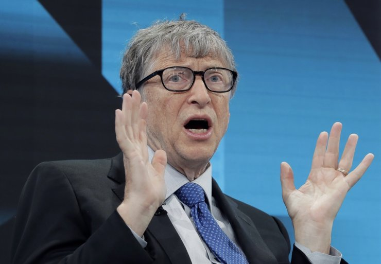 Bill Gates, chairman of the Bill & Melinda Gates Foundation, gestures during a session at the annual meeting of the World Economic Forum in Davos, Switzerland, Tuesday, Jan. 22, 2019. AP
