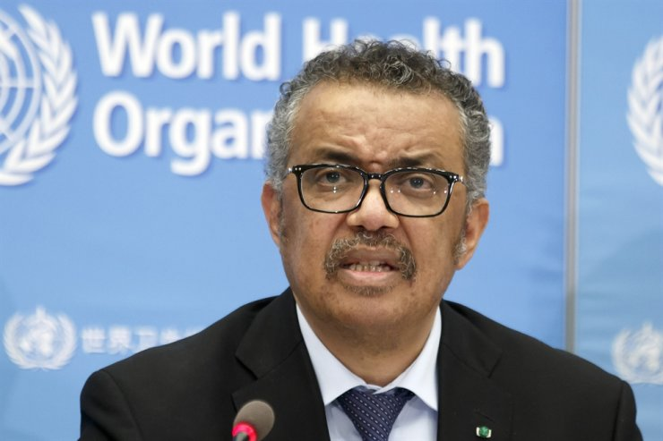 In this Feb. 24, 2020, file photo, World Health Organization (WHO) Director General Tedros Adhanom Ghebreyesus addresses a press conference about the update on COVID-19 at the WHO headquarters in Geneva, Switzerland. AP