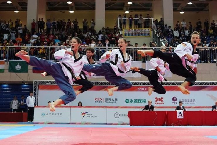 Taekwondo athletes perform at the 2018 World Taekwondo Poomsae Championships in Taipei, Taiwan, 2018. / Courtey of Goyang City