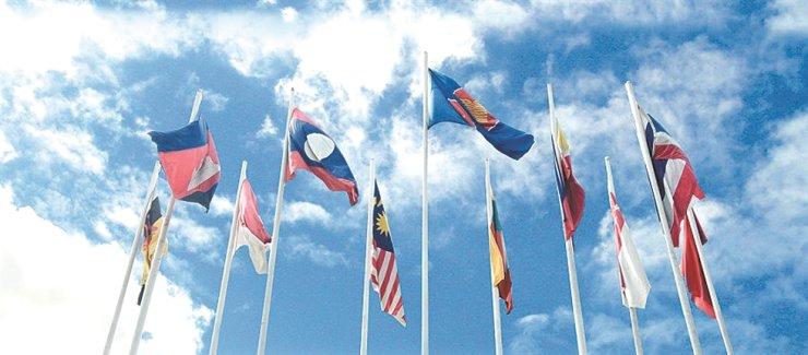 Flags of 10 ASEAN member countries hang on poles the ASEN Secretariat in Jakarta. / Courtesy of ASEAN