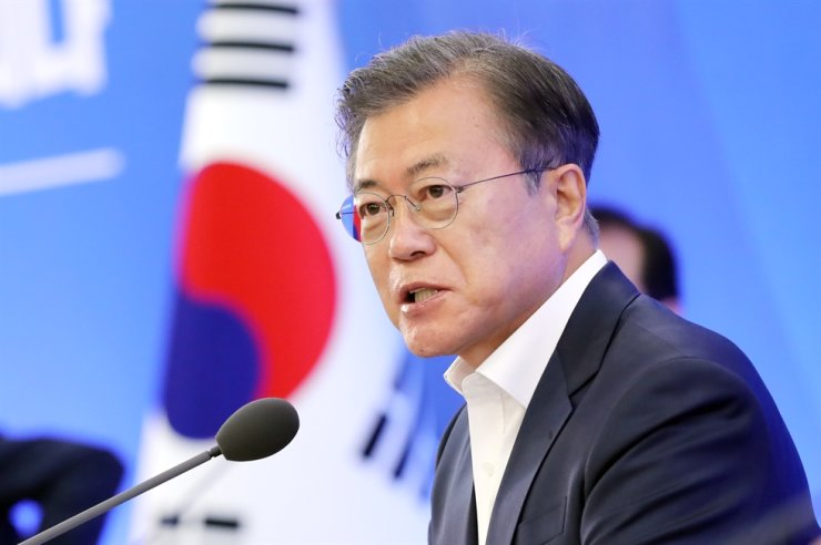 President Moon Jae-in speaks during a meeting with business leaders at the Korea International Trade Association in southern Seoul, Thursday. Yonhap