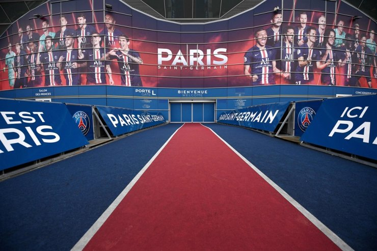 This March 10 file photo shows a view of the main gate of the Parc des Princes stadium in Paris, on the eve of the UEFA Champions League Group A football match between Paris Saint-Germain and Dortmund. The football season in France has been declared over following a league vote Thursday, with Paris Saint-Germain being named as champions. PSG topped the Ligue 1 table by 12 points from Marseille when the season was suspended in mid-March because of the coronavirus outbreak, which has gone on to kill more than 24,000 people in France. AFP-Yonhap