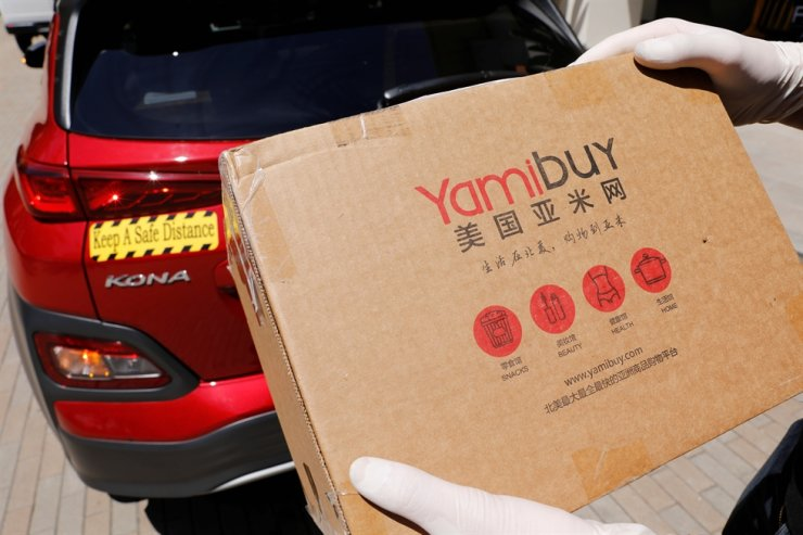 Toyota-backed self-driving company Pony.ai demonstrates an autonomous electric vehicle delivery from local e-commerce platform Yamibuy in Irvine, Calif., April 28, during the coronavirus outbreak (COVID-19). Reuters-Yonhap