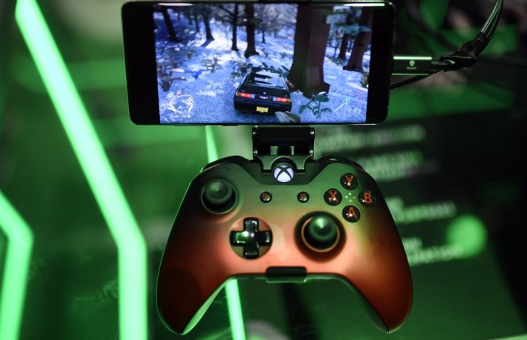 A cloud-based console is displayed at the Microsoft Xbox stand during the Video games trade fair Gamescom in Cologne, western Germnay, in this 2019 file photo.