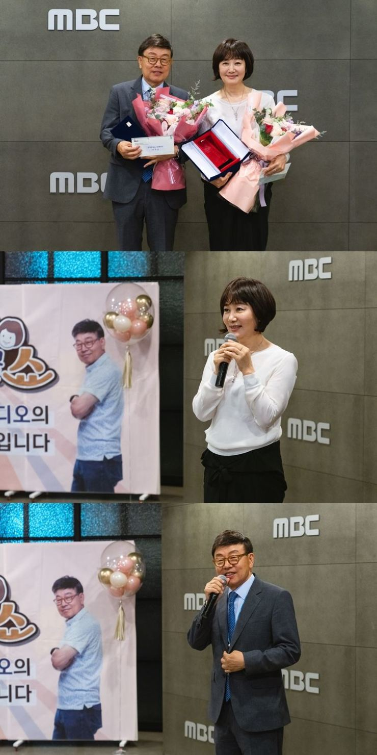 Comedian Kang Suk, left in the first photo, and fellow comedian Kim Hye-young pose after receiving a plaque of appreciation for their long-time service for an MBC radio show named 'Singgeulbeonggeul Show' at the headquarters of MBC, Seoul, May 6. Together, they have hosted the show since 1987. Courtesy of MBC