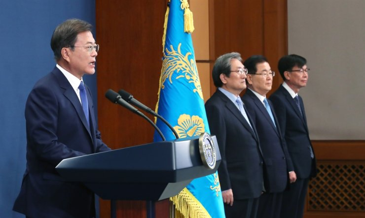 President Moon Jae-in delivers a speech during the third-year anniversary of his inauguration at Cheong Wa Dae, May 10. Moon said the government will bolster the reshoring of Korean firms overseas. / Korea Times file