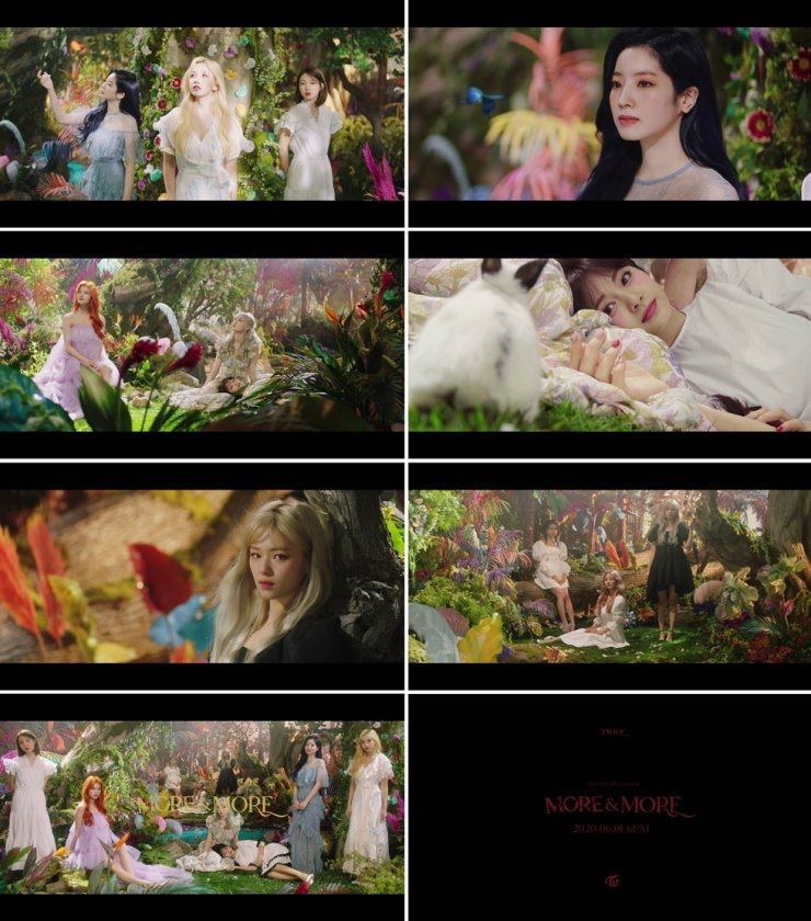 Stills from K-pop girl group TWICE's music video teaser for its song 'MORE & MORE.' / Courtesy of JYP Entertainment