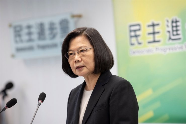 A handout photo made available by Taiwan's ruling Democratic Progressive Party (DPP) shows President Tsai Ing-wen speaking at DPP headquarters in Taipei, May 20, 2020. EPA