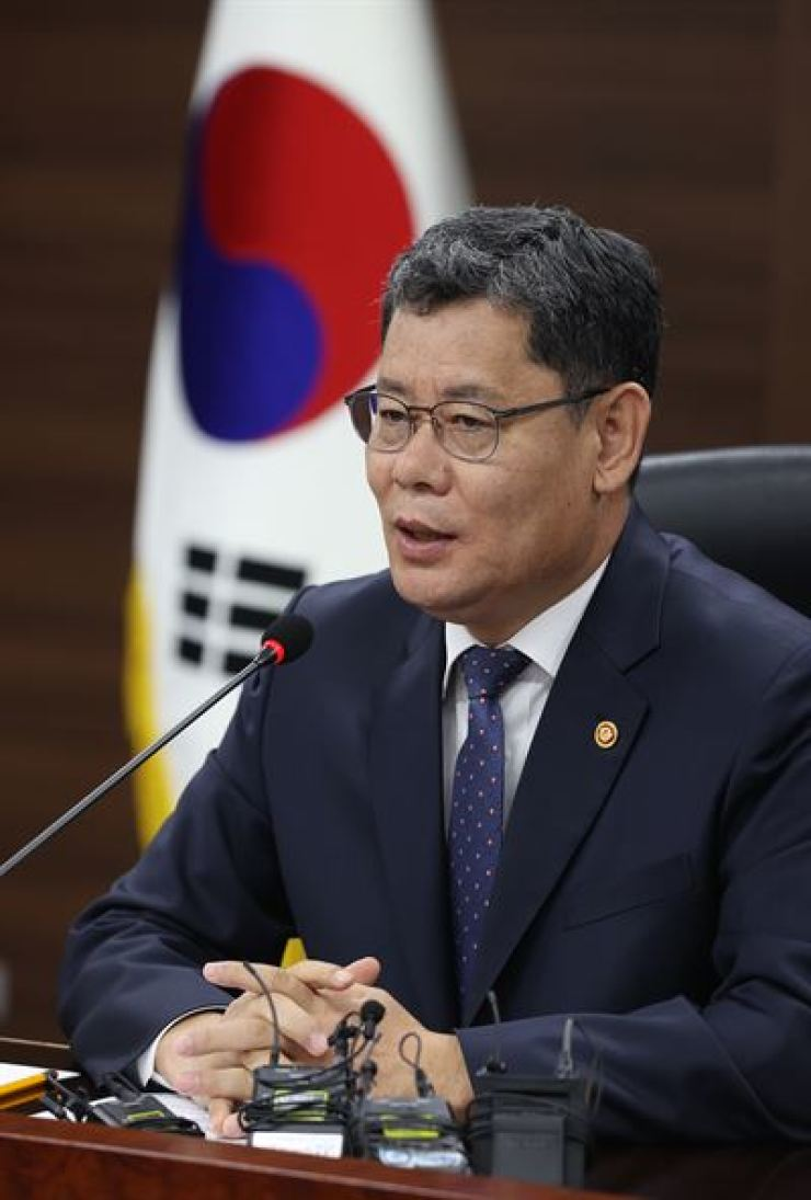 Unification Minister Kim Yeon-chul speaks during a press conference at the ministry in Seoul, Thursday. / Yonhap