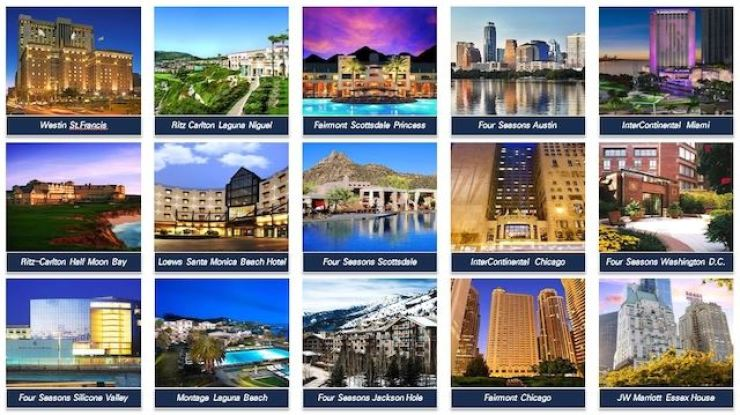 The 15 U.S. luxury hotels which were supposed to be bought by Mirae Asset Global Investments from China's Anbang Insurance Group / Courtesy of Mirae Asset Global Investments