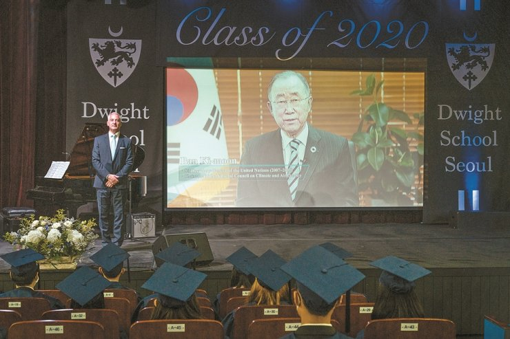 Former United Nations Secretary General Ban Ki-moon delivers a commencement speech via video to 27 graduating students of Dwight School Seoul, Friday. Courtesy of Dwight School Seoul