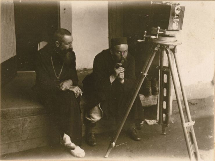 Archabbot Norbert Weber, left, and Father Canut D'Avernas filming a silent documentary 'Korean Wedding' in 1925 / Courtesy of St. Ottilien Archabbey and OKCHF
