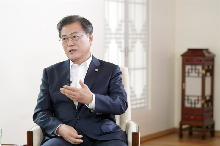President Moon Jae-in speaks at Cheong Wa Dae, Tuesday, during an interview with local broadcaster MBC to mark the 40th anniversary of the May 18 Gwangju pro-democracy movement. Courtesy of Cheong Wa Dae