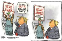 Trump mask sign