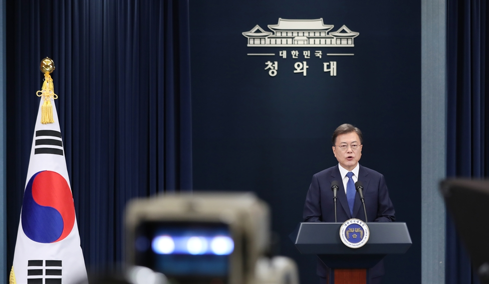 President Moon Jae-in delivers a special address to mark his third year in office at Cheong Wa Dae, Seoul, Sunday. Yonhap