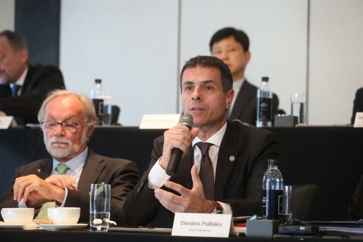 European Chamber of Commerce in Korea (ECCK) Chairman Dimitris Psillakis speaks during a press conference on the 2019 ECCK White Paper at the Four Seasons hotel in Seoul on Nov. 29. Courtesy of the ECCK