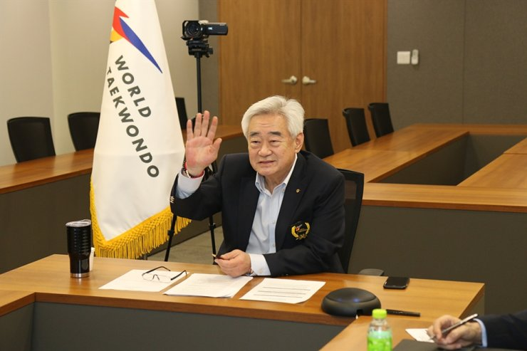 World Taekwondo (WT) President Choue Chung-won gives a greeting during a conference call for the organization's council meeting at the WT headquarters in Seoul, Tuesday. / Courtesy of World Taekwondo