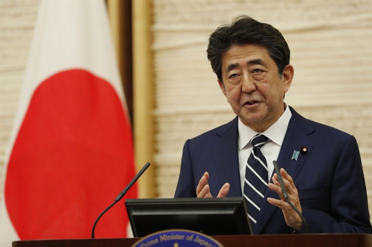Japan's Prime Minister Shinzo Abe speaks at a news conference in Tokyo, May 25, 2020. EPA