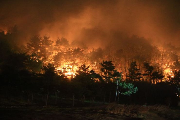 A fire broke out late Friday near a mountain in Goseong, Gangwon Province, forcing hundreds of people to evacuate and local authorities to call for help from nearby cities. Yonhap