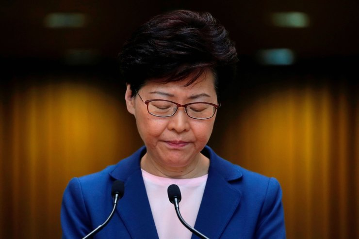 Hong Kong Chief Executive Carrie Lam speaks to the media over an extradition bill in Hong Kong, July 9, 2019. Reuters