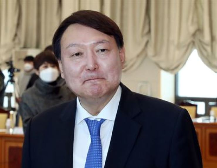 Prosecutor General Yoon Seok-youl participates in an event at the Supreme Prosecutors' Office in southern Seoul in this February photo. Yonhap