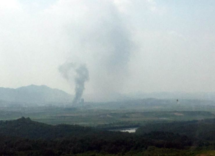 Smoke rises from the Gaeseong Industrial Complex, Tuesday. The South Korean Ministry of Unification said North Korea blew up the South-North joint liaison office, located in the complex, at 2:49 p.m., three days after Kim Yo-jong, North Korean leader Kim Jong-un's sister, warned that the office would 'completely collapse.' /Yonhap