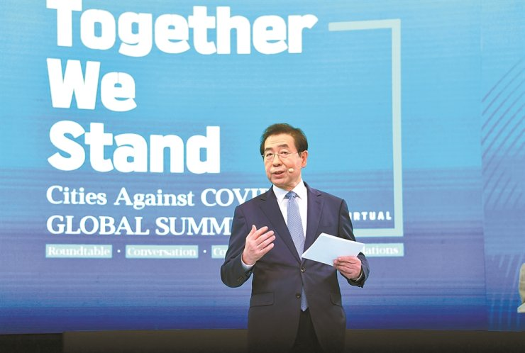 Seoul Mayor Park Won-soon delivers a speech during the Cities Against COVID-19 Global Summit 2020, an online conference hosted by the Seoul Metropolitan Government from June 1 to 5. / Courtesy of Seoul Metropolitan Government