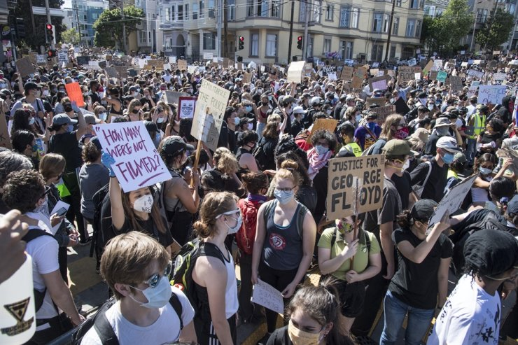 Protesters jam the streets during a demonstration in memory of George Floyd on 18th Street by Delores Park in San Francisco on Wednesday, June 3, 2020. Thousands particiated as demonstrations are held coast to coast in support of Black Lives Matter and calling for police accountability. Photo by Terry Schmitt/UPI