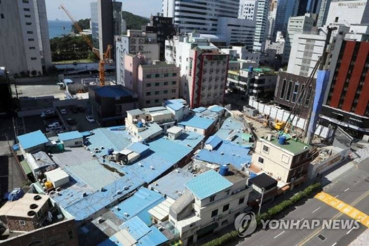 The '609' red-light district in Busan before its demolition. Yonhap