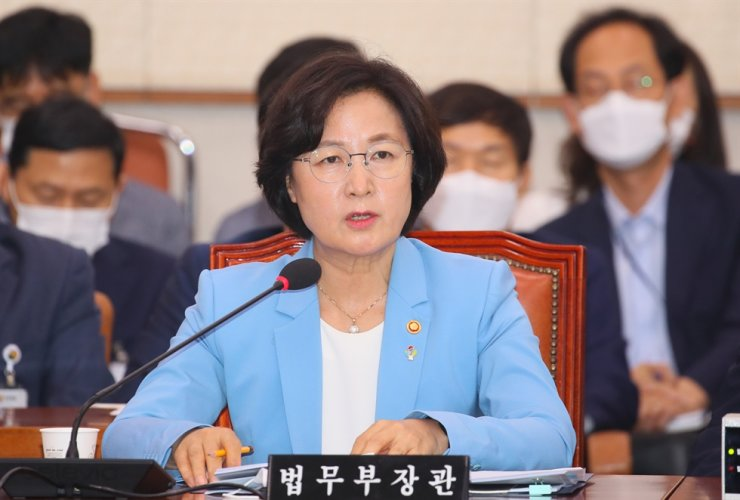 Justice Minister Choo Mi-ae speaks during a meeting with lawmakers at the National Assembly, Monday. Yonhap
