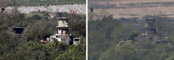 Loudspeakers at a North Korean guard post in the Demilitarized Zone is seen in the left photo taken in September 2017, while it is removed in the right photo taken May 4, 2018, after the two Koreas agreed in the April 27 Panmunjeom Declaration that year to remove their respective speakers. The North began to reinstall the speakers, Monday, as inter-Korean tension has risen recently. Yonhap