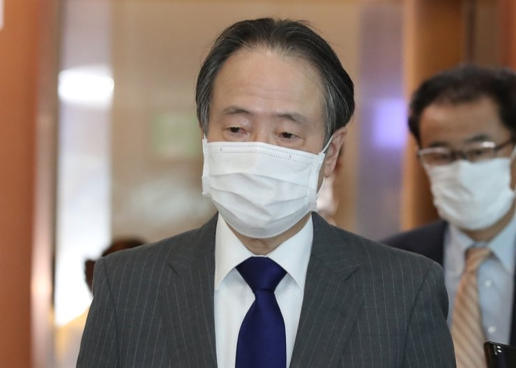 Japanese Ambassador Koji Tomita is called into South Korea's foreign ministry in Seoul, Monday. Yonhap