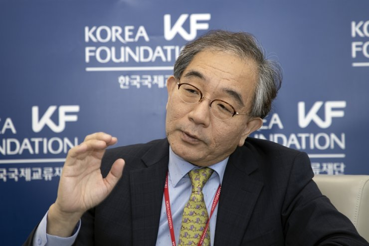 Korea Foundation (KF) President Lee Geun speaks to The Korea Times during a joint interview with KF Special Representative for Health Diplomacy Jee Young-mee at the KF Seoul office, June 17. / Korea Times photo by Choi Won-suk