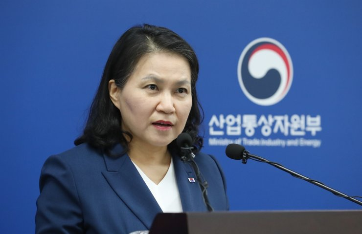 Trade Minister Yoo Myung-hee speaks on her candidacy for World Trade Organization director-general during a press conference at the Sejong Government Complex, Wednesday. Yonhap