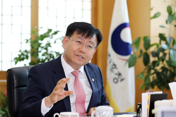 Rural Development Administration (RDA) Administrator Kim Kyeong-kyu speaks during an interview with The Korea Times at RDA headquarters in Jeonju, North Jeolla Province, June 1. Courtesy of RDA