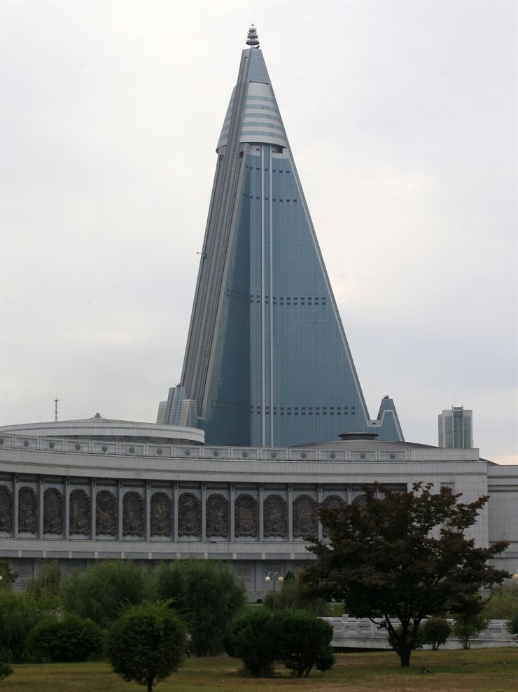 The 105-story Ryugyong Hotel is seen in the North Korean capital of Pyongyang in this Oct. 7, 2018, photo. /Korea Times file