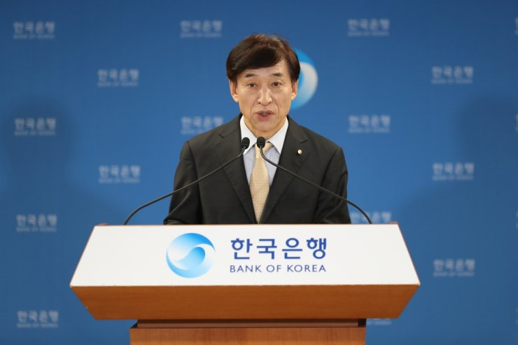 Bank of Korea Governor Lee Ju-yeol speaks in a press conference at BOK headquarters in Seoul, Thursday. Courtesy of Bank of Korea