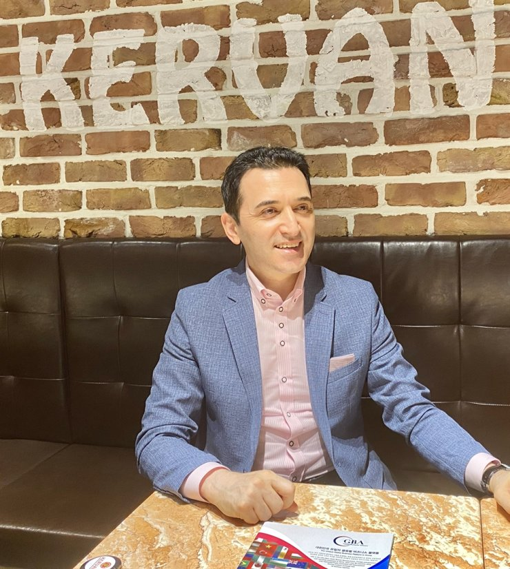Oh Sinan Ozturk, founder and chairman of Kervan Group, holds an interview with The Korea Times at Kervan in Itaewon, Monday. / Courtesy of Kervan Group