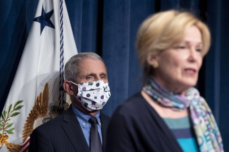 Coronavirus task force coordinator Deborah Birx speaks in front of National Institute of Allergy and Infectious Diseases Director Anthony Fauci during a White House coronavirus task force news briefing at the U.S. Department of Health and Human Services in Washington, DC, June 26, 2020. EPA