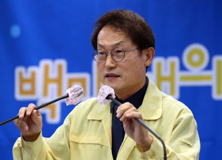 Cho Hee-Yeon, superintendent of Seoul Metropolitan Office of Education (SMOE), speaks during a press conference at the SMOE building in Seoul, Tuesday. Yonhap