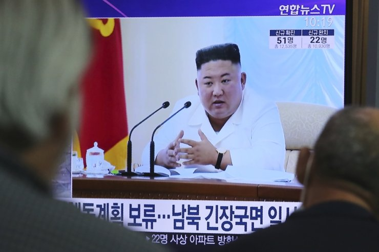 People watch a TV showing a file image of North Korean leader Kim Jong-un during a news program at the Seoul Railway Station in Seoul, South Korea, Wednesday, June 24, 2020. AP