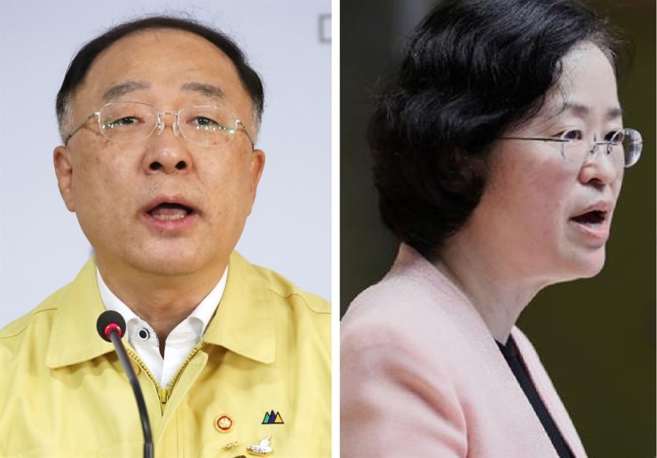Deputy Prime Minister and Finance Minister Hong Nam-ki, left, and Fair Trade Commission Chairwoman Joh Sung-wook / Korea Times file