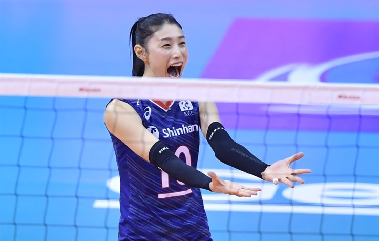 South Korean volleyball star Kim Yeon-koung reacts during the Tokyo Olympic game qualification match against Thailand in Nakhon Ratchasima, Thailand, Jan. 12. / Korea Times file