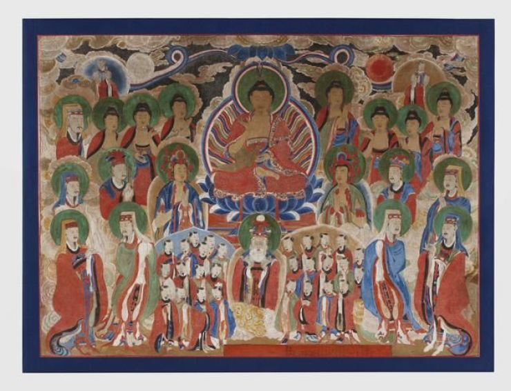The Assembly of Tejaprabha Buddha, a 19th-century Buddhist painting, which was believed to have been shipped out of the country during the 1950-53 Korean War. The Jogye Order of Korean Buddhism said Thursday that is has been brought back home from Britain, holding a ceremony at the Memorial Hall of Korean Buddhist History and Culture in downtown Seoul to celebrate the return. Courtesy of Jogye Order of Korean Buddhism
