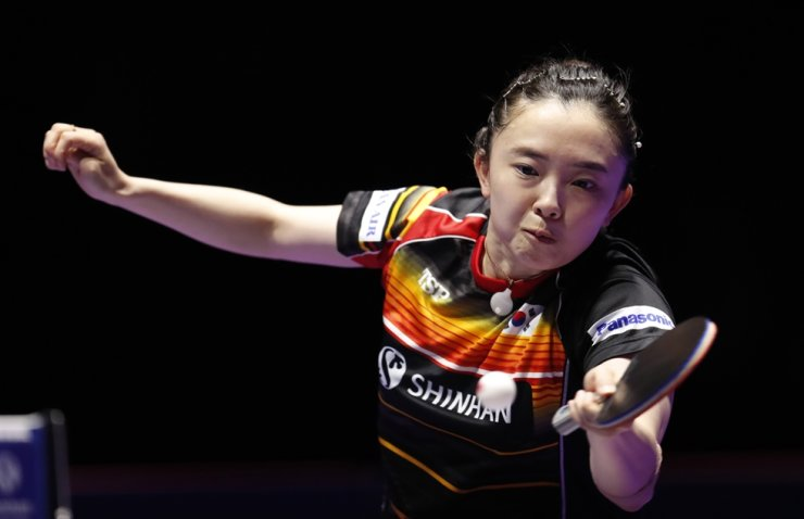 Jeon Ji-hee of South Korea in action against Ding Ning of China during the women's singles table tennis quarterfinals match at the Seamaster 2019 International Table Tennis Federation World Tour Shinhan Korea Open at Sajik Gym in Busan, South Korea, July 6, 2019. EPA-Yonhap