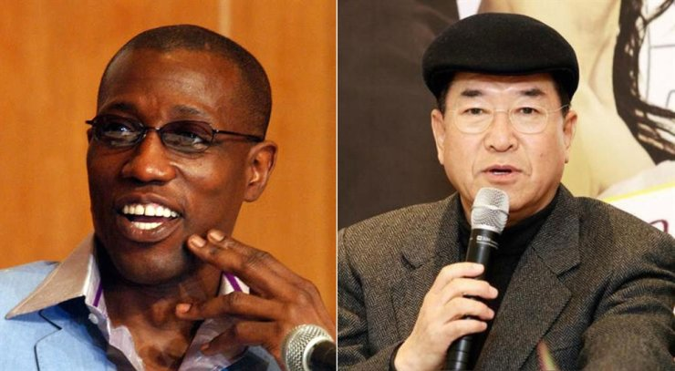 Wesley Snipes, left, and Park Cheol. Korea Times file, Yonhap