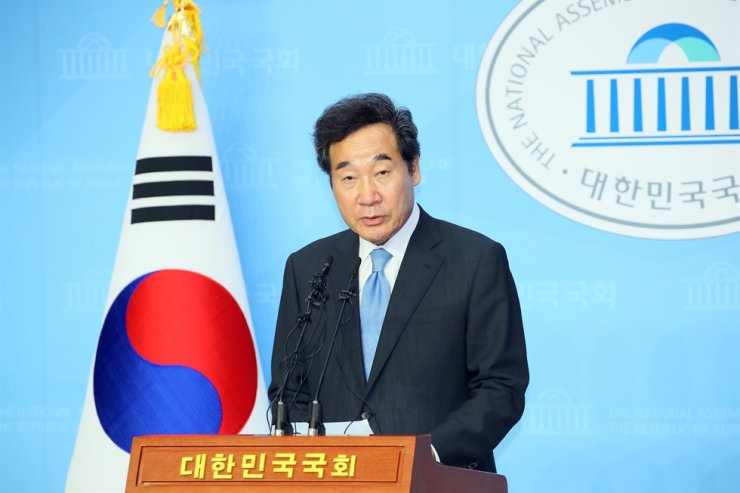 Rep. Lee Nak-yon of the ruling Democratic Party of Korea speaks at a press conference at the National Assembly, Tuesday. Yonhap