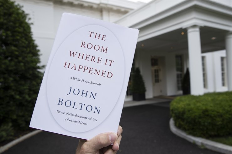 A copy of the book, 'The Room Where It Happened,' by former U.S. National Security Adviser John Bolton, is seen at the White House in Washington DC on June 18. The 500-plus page memoir was released in South Korea last week. AP