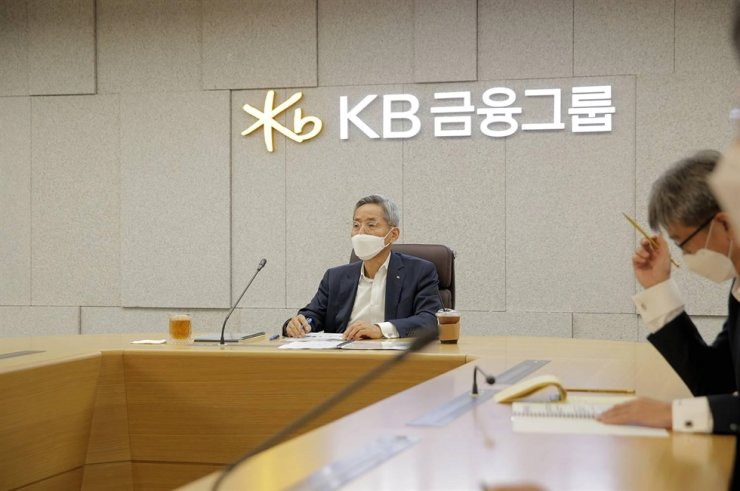 KB Financial Group Chairman Yoon Jong-kyoo addresses a meeting in this photo provided by the group. KB took over the leading group title in the second quarter, backed by earnings from its brokerage and card affiliates. / Courtesy of KB Financial Group